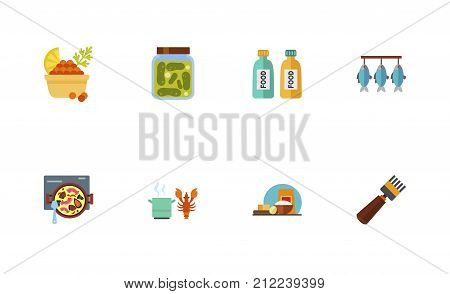 Seafood Icon Set. Red Caviar With Lemon And Dill Pickled Cucumbers Jar Food In Tubes Dried Fish Cooking Spanish Paella Cooking Lobster Cooking Ingredients Beekeeping Fork
