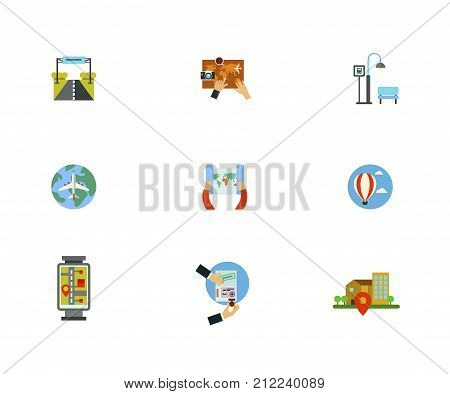 Tour Planning Icon Set. Road Sign Planning Trip On Map Bus Stop World Air Tour Hot Air Balloon Street Map Visa Geo Location