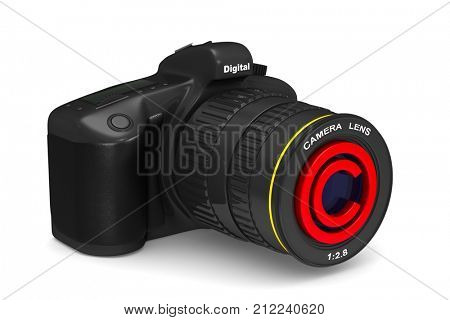 digital camera on white background. Copyright photo. Isolated 3D illustration