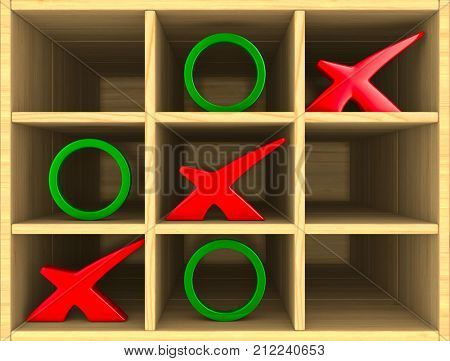 tic tac toe game. 3D illustration