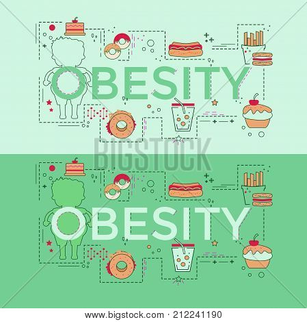 Web page design template with different obese and fitness icons. Unique concept for obesity problems site. Vector illustration.