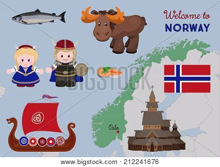 Welcome to Norway, cartoon characters of vikings in ancient scandinavian clothing, traditional scandinavian symbols set. Vector illustration