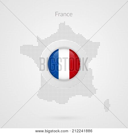 France map dotted vector sign. Isolated French flag circle symbol. European country illustration icon for presentation project advertisement sport event travel concept web design logo