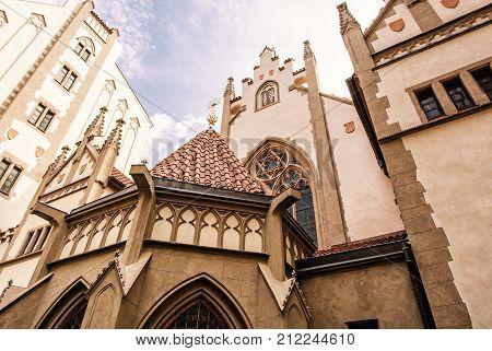 Maisel synagogue in Prague Czech Republic. Architectural theme. Religious architecture. Travel destination. Yellow photo filter.