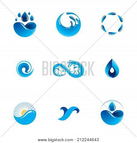 Sea wave splash vector logo. Pure water as the driving force for human activity theme. Environment protection concept.