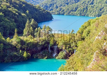 Waterfalls in Plitvice National Park - Croatia. Plitvice Lakes National Park is one of the oldest and the largest national park in Croatia. In 1979, it was added to the UNESCO World Heritage register.