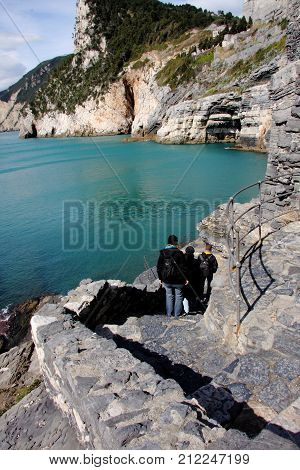 Portovenere - The staircase leading to the entrance to the Lord Byron cave, seen in the background, is a beautiful location on the eastern edge of the Ligurian Riviera near La Spezia,