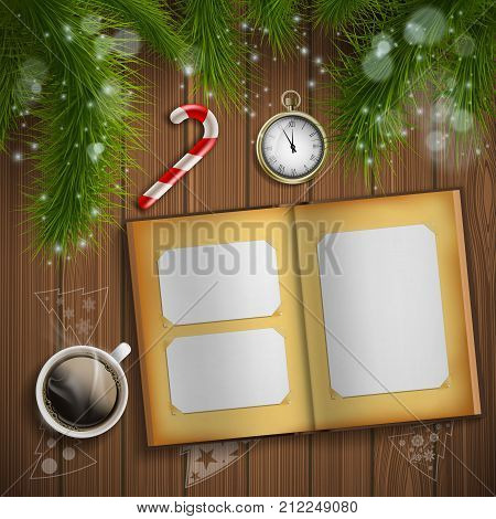 Christmas tree. Vintage album with photo. New Year background. Stock vector illustration.