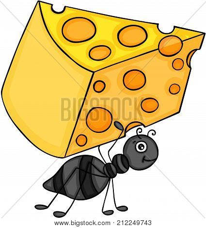 Scalable vectorial image representing a ant carrying slice of cheese, isolated on white.