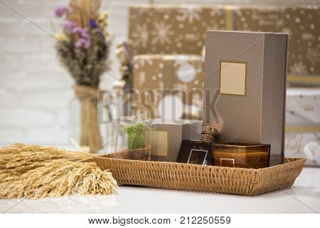 Soft focus and background blurred Gift Baskets Gift set .Holiday and Christmas and New year present Concept