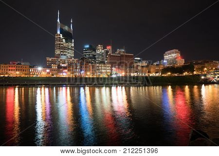 Nashville night skyline along the Cumberland river