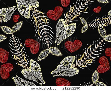 Embroidery fish bone and heart seamless pattern. Sea pattern embroidery vintage skeleton of fish and romantic hearts clothes and t-shirt design. Gothic art pattern