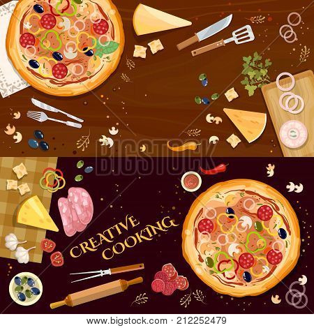 Pizza on wooden table top view banner. Making pizza fresh ingredients for pizza vector