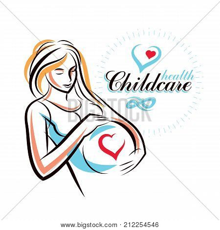 Pregnant female body shape hand drawn vector illustration beautiful lady gently touching her belly. Obstetrics and gynecology clinic advertising banner