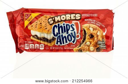 Winneconne WI - 31 October 2017: A package of Chips Ahoy in S'mores flavor on an isolated background.