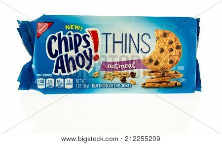 Winneconne WI - 31 October 2017: A package of Chips Ahoy thins in oatmeal on an isolated background.