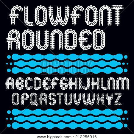 Set Of Trendy Pop Vector Uppercase English Alphabet Letters Isolated. Rounded Bold Type Font, Script