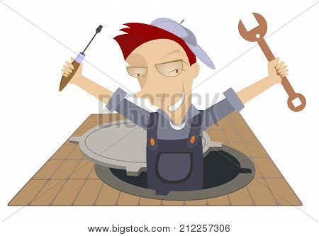 Mechanic working in the sewer manhole. Smiling worker with a spanner and screwdriver appears out from the sewer manhole