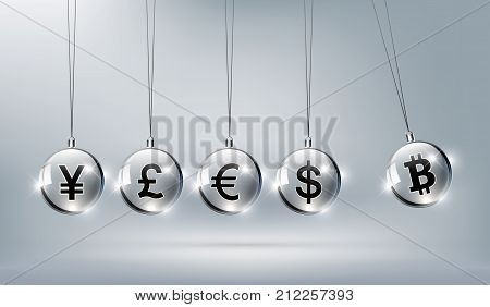 Bitcoin digital currency, dollar, euro, pound sterling, yen and yuan in form of Newton cradle, fintech world finance concept, vector illustration
