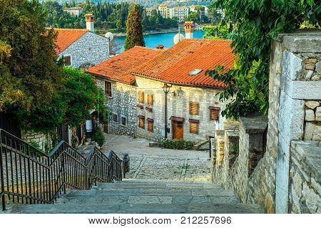 Spectacular stone paved street with colorful mediterranean flowers Rovinj old town, Istria region, Croatia, Europe