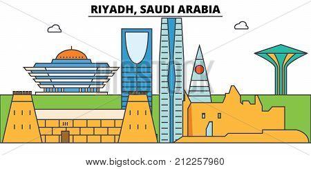 Riyadh, Saudi Arabia outline skyline, arab flat thin line icons, landmarks, illustrations. Riyadh, Saudi Arabia cityscape, arab vector travel city banner. Urban silhouette