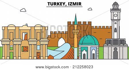 Turkey, Izmir outline skyline, turkish flat thin line icons, landmarks, illustrations. Turkey, Izmir cityscape, turkish vector travel city banner. Urban silhouette