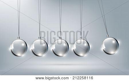 Shinny Glass Newtons cradle for design element, vector illustration
