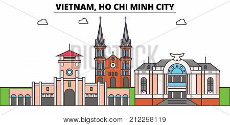 Vietnam, Ho Chi Minh City outline skyline, vietnamese flat thin line icons, landmarks, illustrations. Vietnam, Ho Chi Minh City cityscape, vietnamese vector travel city banner. Urban silhouette