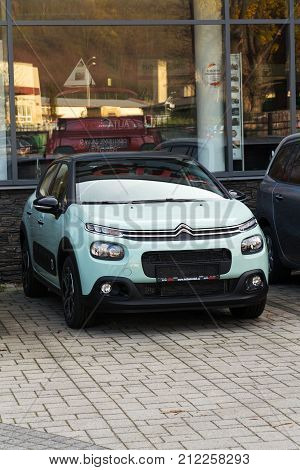 Prague, Czech Republic - November 5: Citroen C3 Car In Front Of Dealership Building On November 5, 2