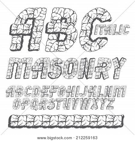 Vector Trendy Ancient Capital English Alphabet Letters, Abc Collection. Bold Italic Font, Typescript