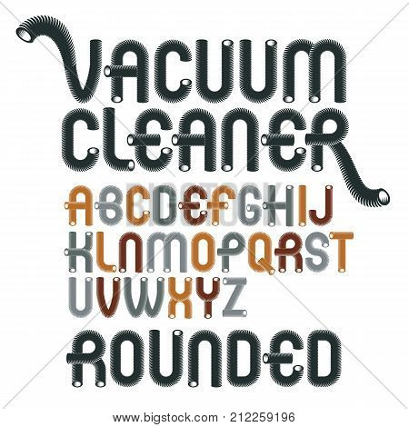 Vector Upper Case Modern Alphabet Letters Abc Set Funky Rounded Font Typescript For