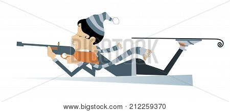 Shooting woman biathlon competitor isolated. Shooting in the lying position woman biathlon competitor cartoon illustration
