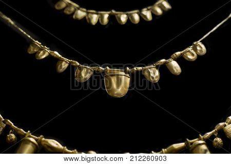 Aliseda Spain - October 29 2017: Golden necklaces from Tartessos Hoard of Aliseda. Replica currently kept at Interpretation Centre of Aliseda Caceres Spain