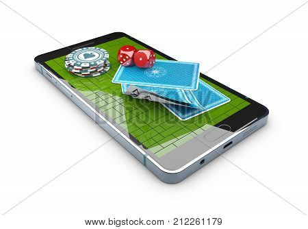Online mobile casino background. Poker app online concept. Smart phone with chips, cards
