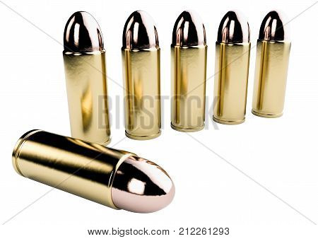 3d render of bullets isolated on white background. 9mm Handgun ammo