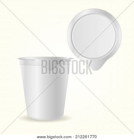Mock up creme package yogurt ice cream or sour creme package. 3D mock up of container with lid isolated. Template for your design. Top and front view.