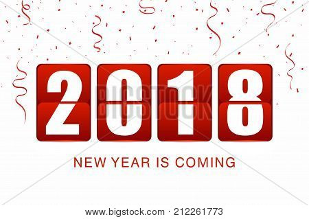 New Year 2018 background. New year flip clock counter with confetti and ribbons on white background. Background for party or event. Vector