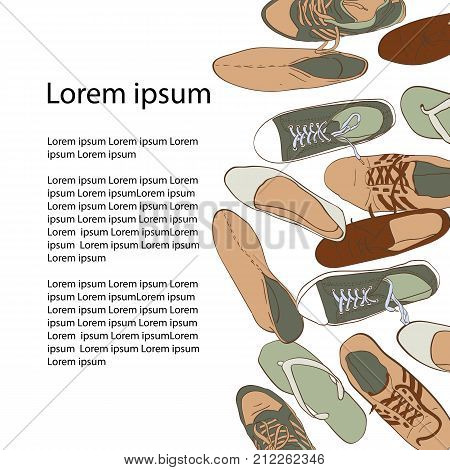 Set hand drawn graphic Men and women Footwear, shoes. Vector illustration of Casual and sport style, gumshoes.  sneakers, boots, pumps. isolated object copy space.