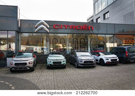 Prague, Czech Republic - November 5: Citroen Cars In Front Of Dealership Building On November 5, 201