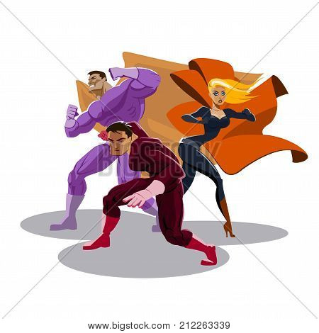 Superhero team. Look around. Stand in readiness. Vector illustration