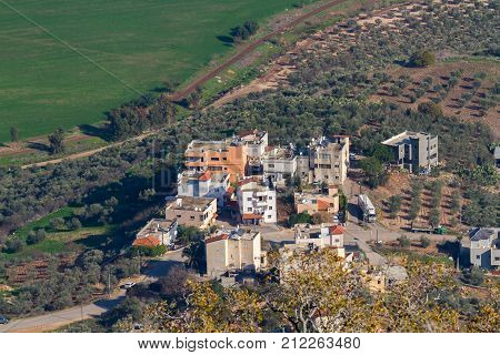 View from Mount Tabor to some buildings at Kfar Tavor in Israel in Northern Israel