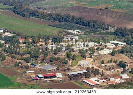 Mount Tabor/israel - 07 January 2012: Kfar Tavor Administrative Buildings And Gas Station