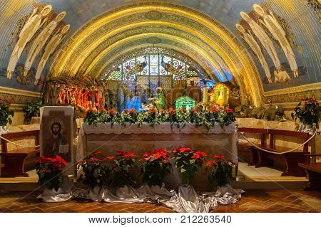 Mount Tabor/israel - 07 January 2012: Altar In Church At Mount Tabor