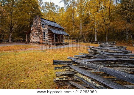 Autumn at the John Oliver Cabin in Cades Cove in Great Smoky Mountains National Park, Tennessee.   Note: This a public historic structure located within Great Smoky Mountains National Park