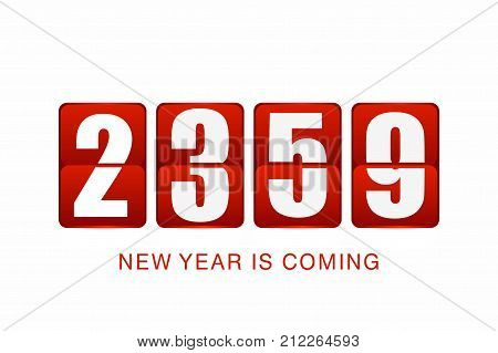 New Year 2018 background. New year flip clock counter isolated on white background. Background for party or event. Vector