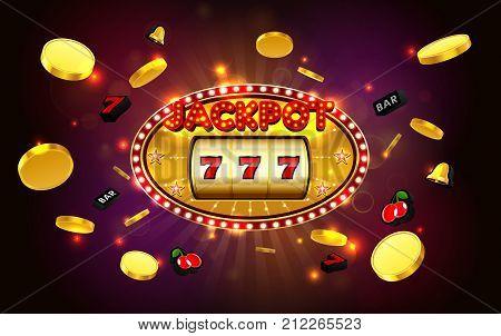 jackpot lucky wins gloden slot machine casino with light background vector illustration