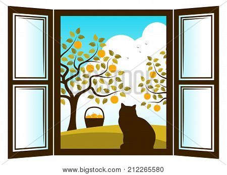 vector cat in the window and apple trees outside the window