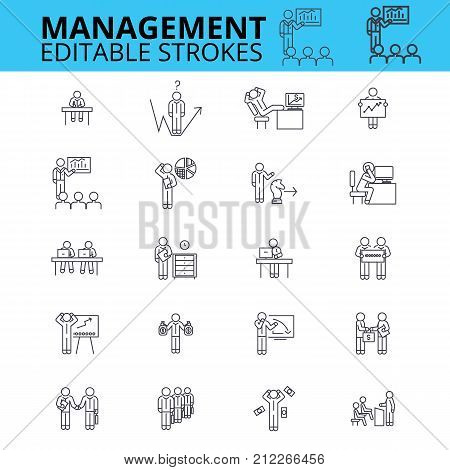 Management ouline vector icons. Editable strokes. Businessman signs set. Business management process logo. Human resources thin line icons.