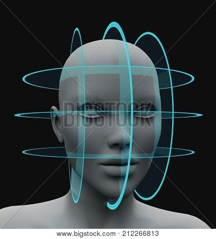 spherical scanning facial recognition 3d rendering