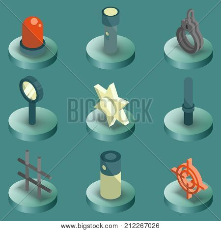 Police color isometric icons on isoleted background. Vector illustration for you design, web and mobile applications